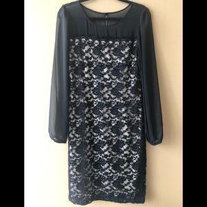 Connected Apparel Black & Tan Lace Dress.